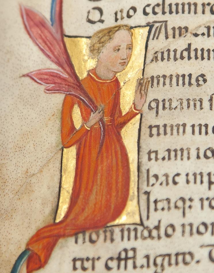 Historiated initial 'I' with kneeling figure of Philosophy from Boethius's Consolatio Philosophiae.