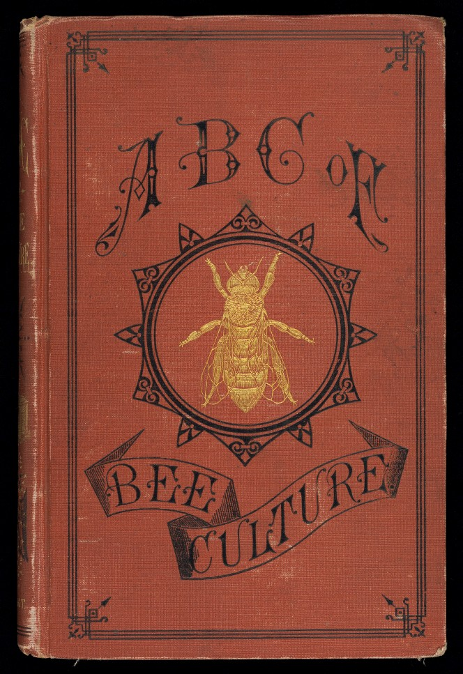 Cover A.I. Root's The ABC of bee culture, illustrated with an inlaid gilt bee.