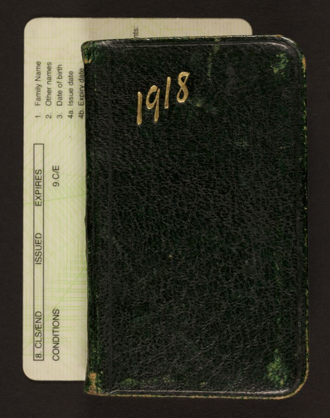 Small pocket diary containing brief entries describing Townsend's experiences on active service in France during 1918.