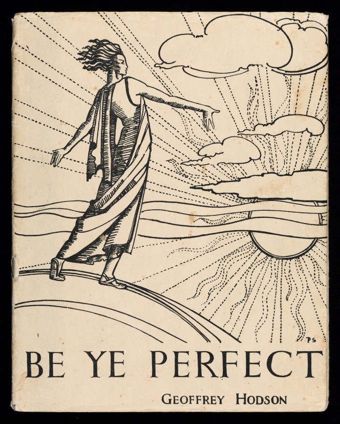 Cover of Geoffrey Hodson's Be Ye Perfect, showing a robed figure gesturing into the sun.