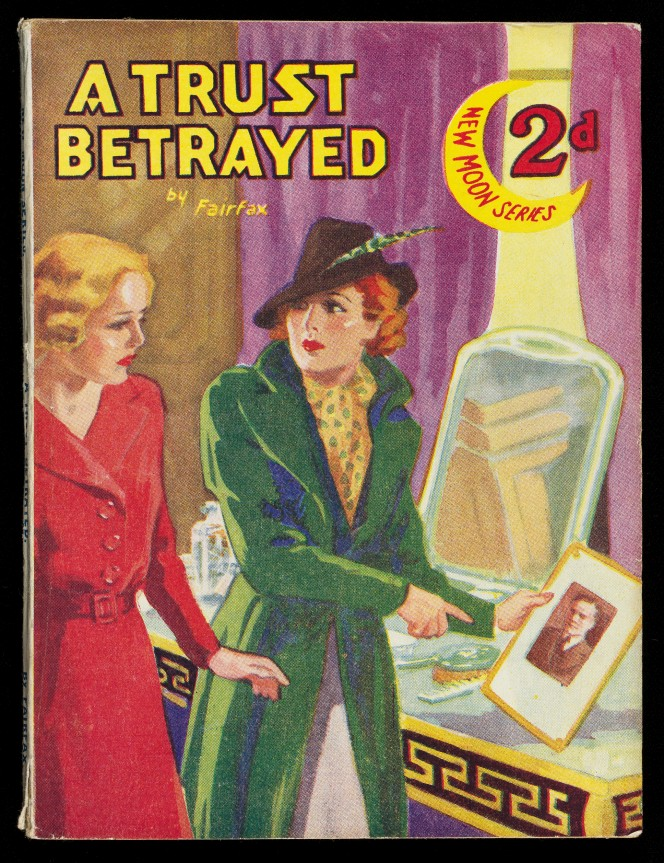 Cover of A Trust Betrayed, showing a woman in a fancy hat pointed at a portrait of a man.