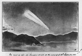 Otago Harbour at night with a large comet lighting the sky above the hills.
