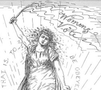A woman wields a whip of womens' votes against immoral men who tumble at her feet