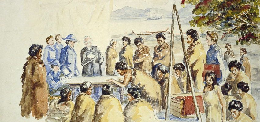 A painting showing Māori and Pakeha signing the Treaty of Waitangi.