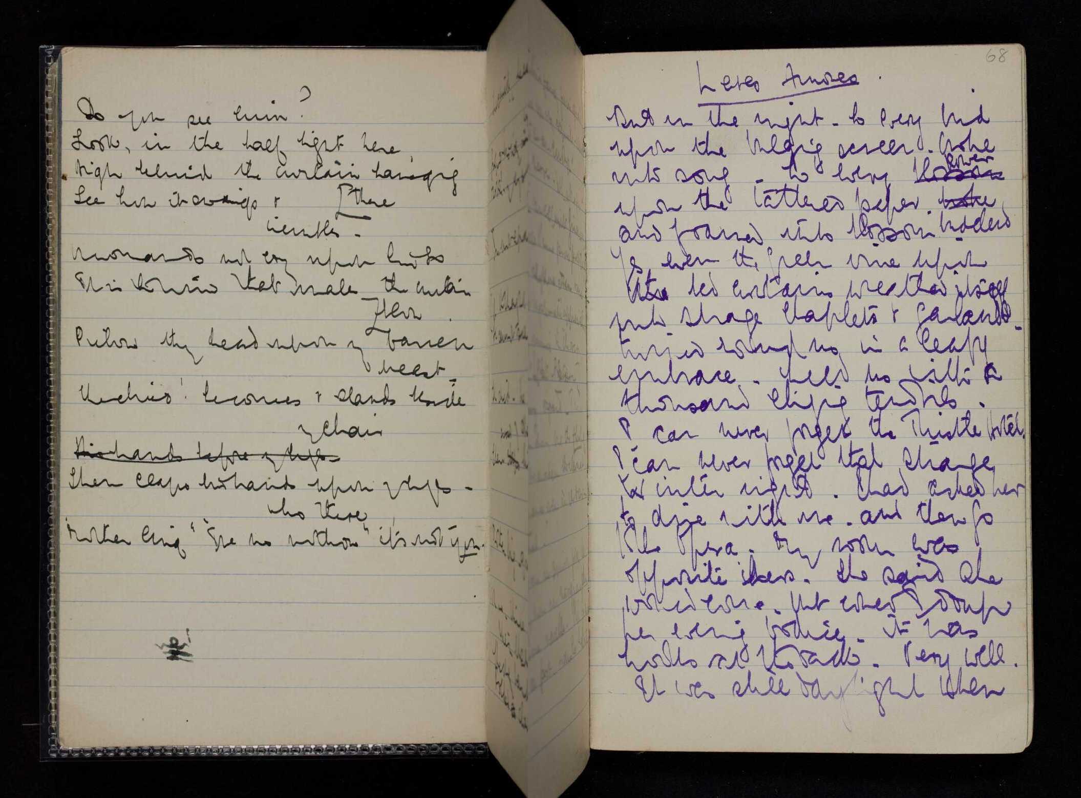 Side by side images of pages from her notebook showing her characteristically messy handwritting