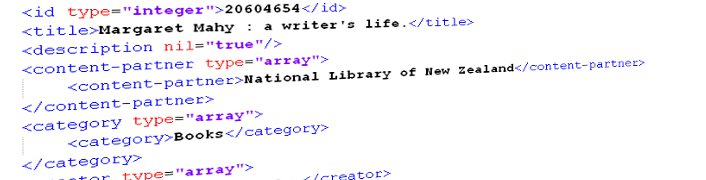 [Partial XML for a book by Margaret Mahy, showing the kind of data available for download