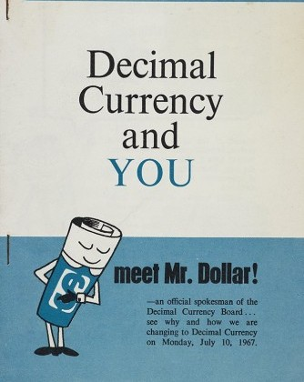 Cover of 'Decimal Currency and You',  showing a bowing Mr Dollar.