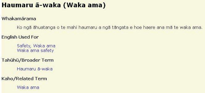 Ngā Ūpoko Tukutuku entry for Haumaru ā-waka (Waka ama).
