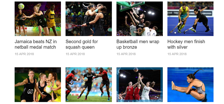 Small pictures of sports people playing netball, squash, basketball and hockey