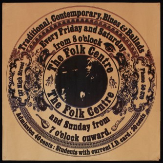 Circular poster for the Folk Centre, advertising traditional, contemporary, blues ballads, every Friday and Saturday from 8 o'clock, and Sunday from 7 o'clock onward.
