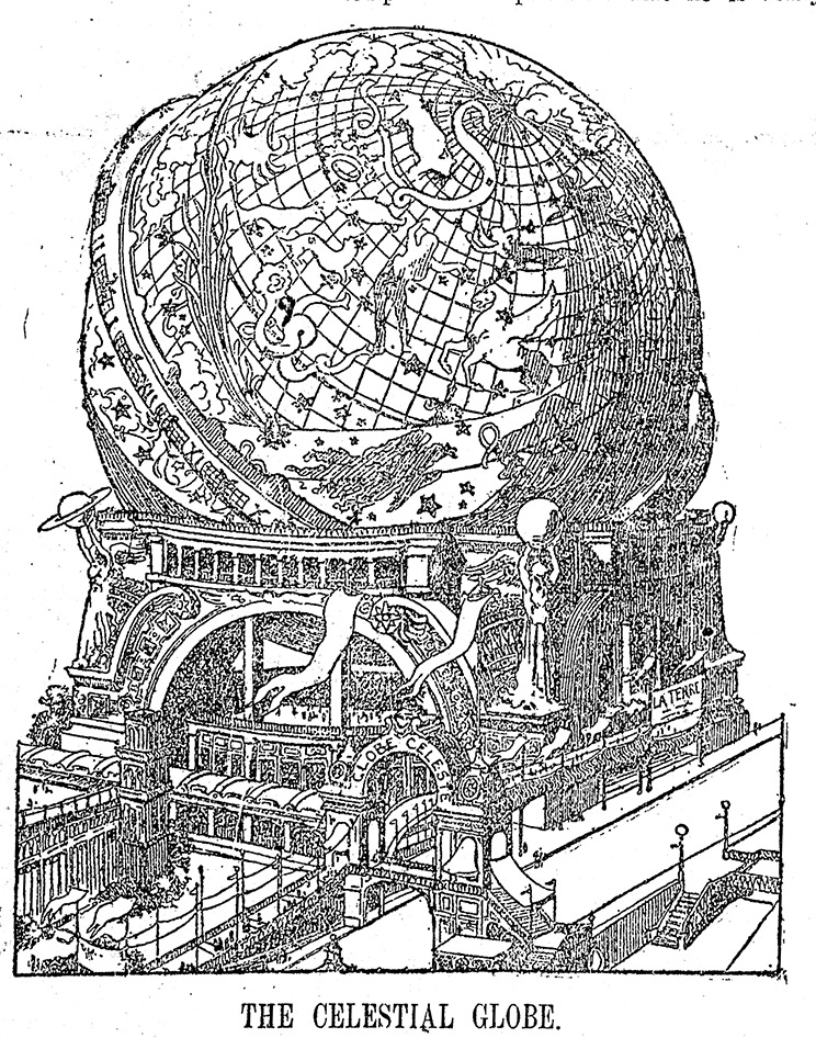 Drawing of a huge globe on an ornate stand.
