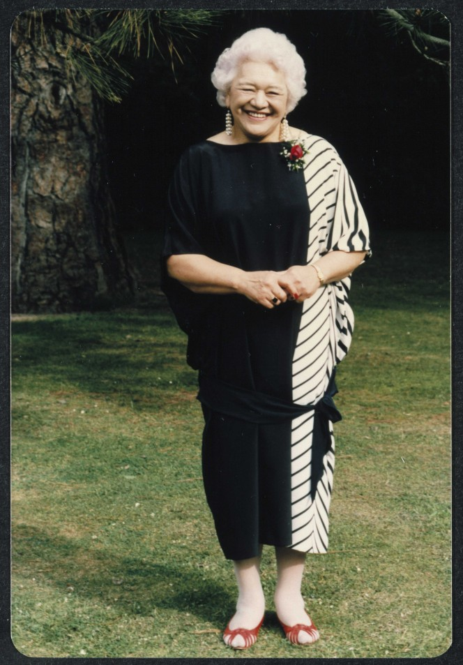 Photograph of Wharetutu Te Aroha Stirling, conservationist, taken at her son Maani's wedding in 1986.