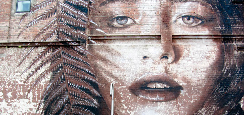 Mural of girl with fern for hair