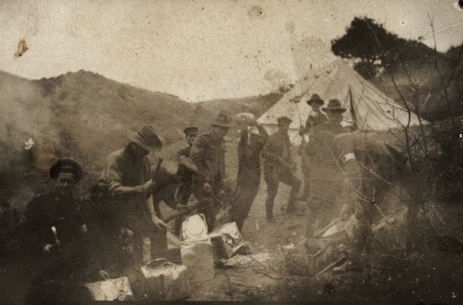 18 December 1915, Gallipoli below the Apex, destroying biscuit tins prior to the evacuation.