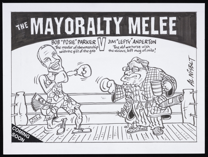 Alistair Nisbet's cartoon showing the fight between Jim Anderton and Bob Parker for the Mayoralty of Christchurch, 2010.