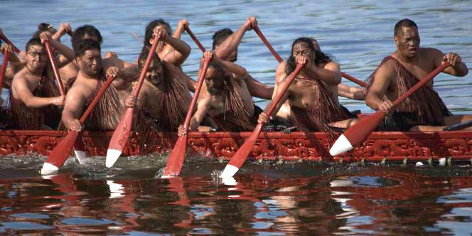 Waka being paddled