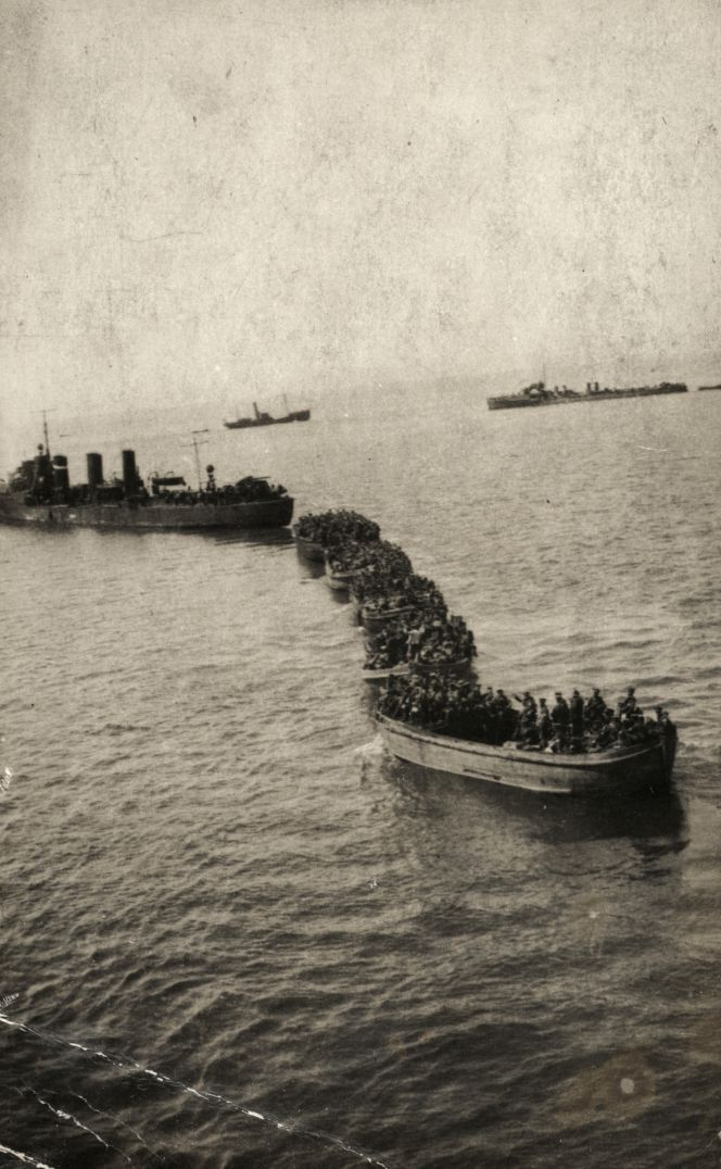Barges full of troops being towed a shore by a lighter, Gallipoli, 1915.