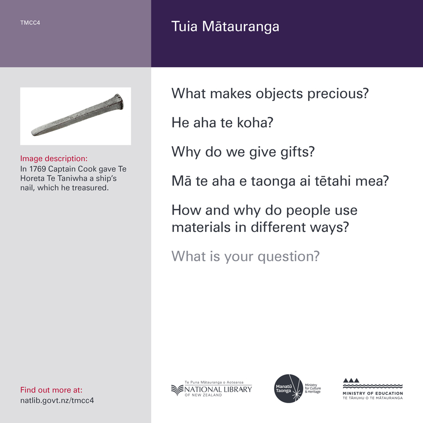 Back of curiosity card TMCC4, with image description, fertile questions, and a link with more information