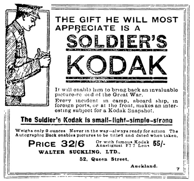 Advertisement for Soldier's Kodak camera. Reads 'The gift he will most appreciate is a soldier's kodak...'