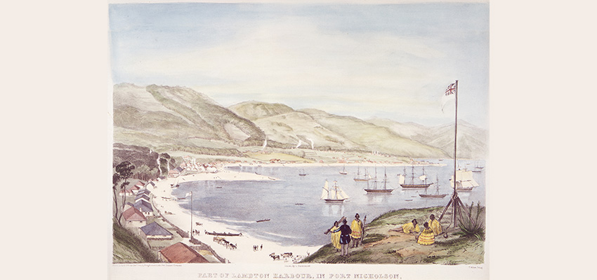 1841 painting of Lambton Harbour by Charles Heaphy showing settlement buildings, ships in the harbour, and Māori and early settlers on a hill overlooking the harbour