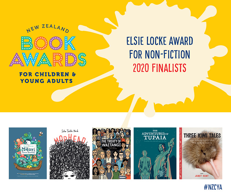 Promotional poster for New Zealand Childrens and Young Adults Book Awards Elsie Locke Award for Non-fiction 2020 finalists, with book cover images