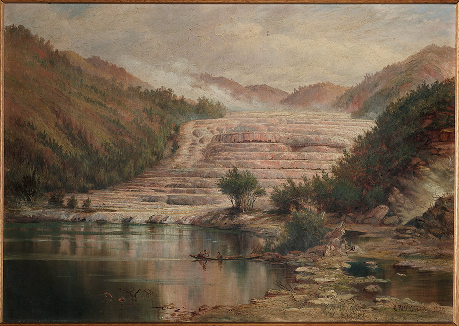 The Pink Terraces, Lake Rotomahana. Painting by Charles Blomfield. It depicts a waka on Lake Rotomahana with the Pink Terraces behind reflected onto the lake.  [The Pink Terraces](/files/schools/hm76-the-pink-terraces-english.mp3)