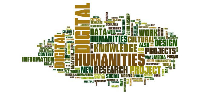 Word map of digital humanities related terms, including digital, humanities, knowledge, data, cultural, work, and so many more.