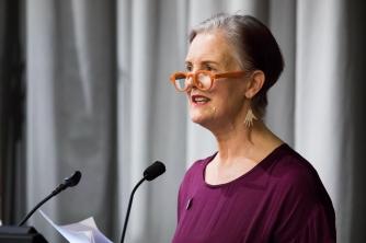 Eve de Castro-Robinson delivering the 2018 Lilburn Lecture.