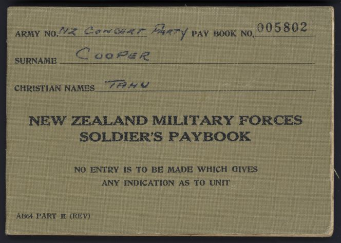 Johnny Cooper's paybook for his first New Zealand Concert Party Tour, 1954.