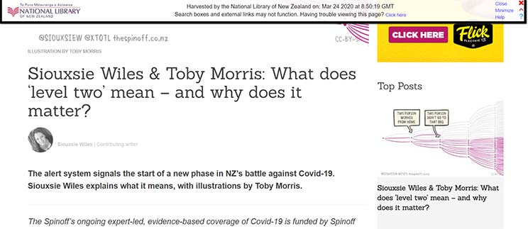 Screenshot of article by Siouxsie Willes and Toby Morris from the Spin Off website.