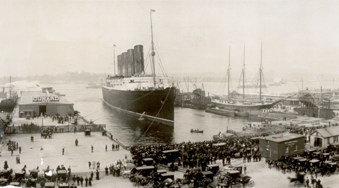 The Lusitania at end of record voyage in 1907.