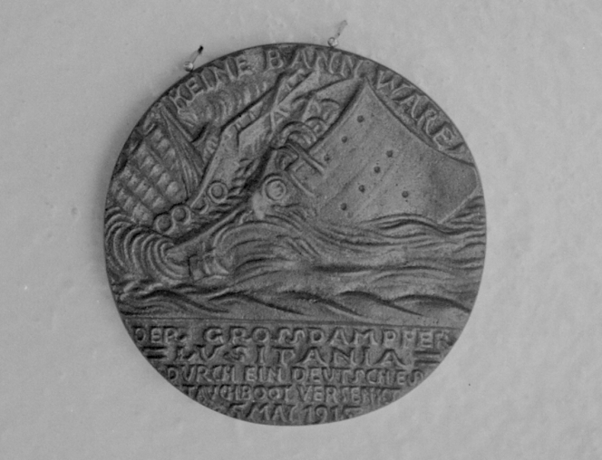 A 'Lusitania Medal' (either genuine or a copy). Negatives of the Evening Post newspaper.