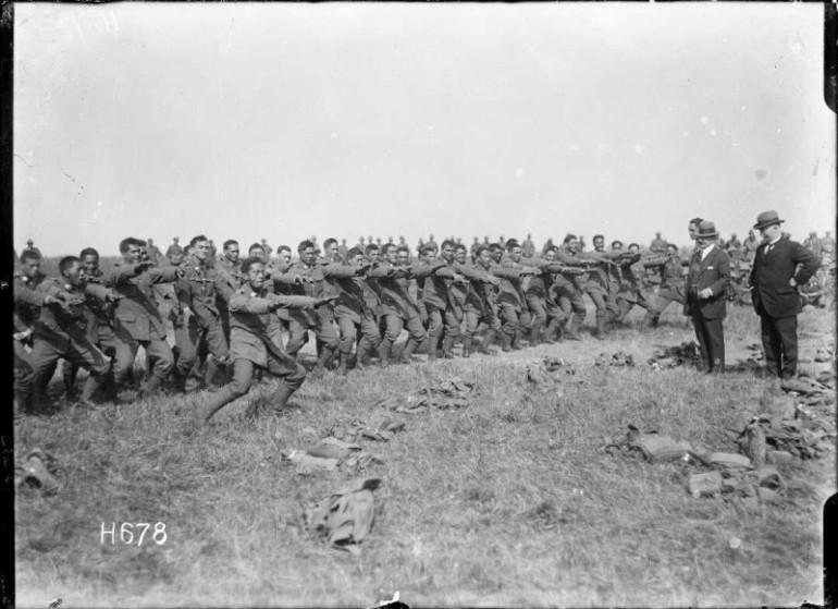 Pioneer Battalion performing a haka for Joseph George Ward at Bois-de-Warnimont.