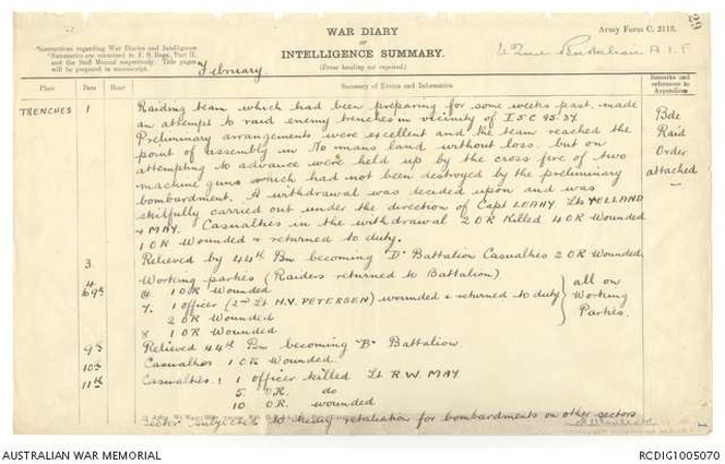 Unit War Diary, recording the action in early February 1917. Australian War Memorial.