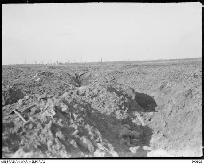 View of the front line trench near Zonnebeke in the Ypres sector, from which the Australian troops opened their advance on the morning of 4 October.