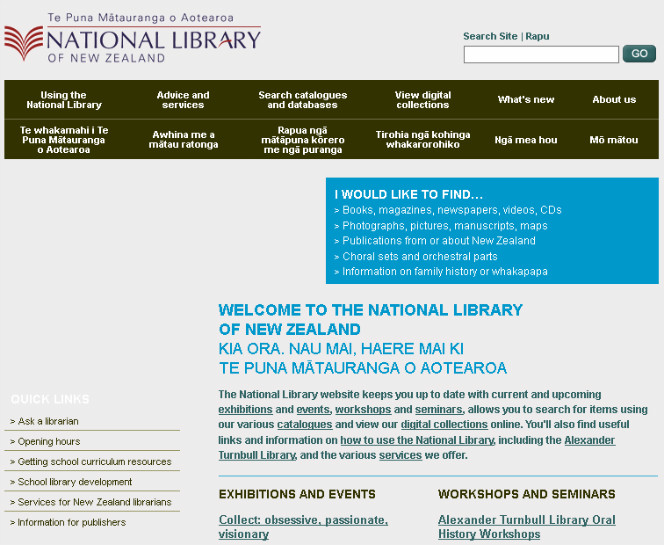 The National Library website in the mid 2000s.