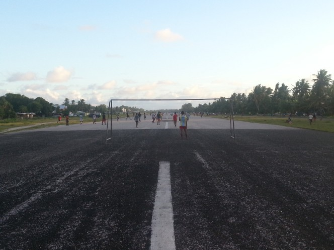 After work football on the runway.
