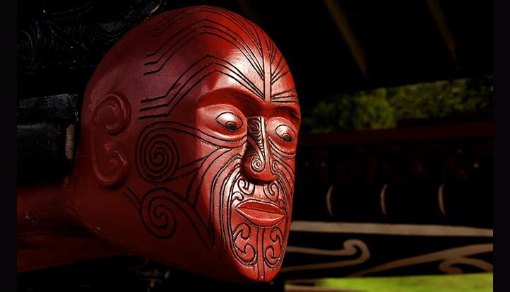 Carved figurehead on a war canoe at Waitangi, NZ
