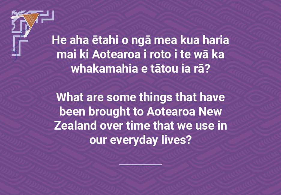 What are some things that have been brought to Aotearoa NewZealand over time that we use in our everyday lives?  [Overseas things that we use every day](/files/schools/hm91-overseas-things-that-we-use-every-day-english.mp3)