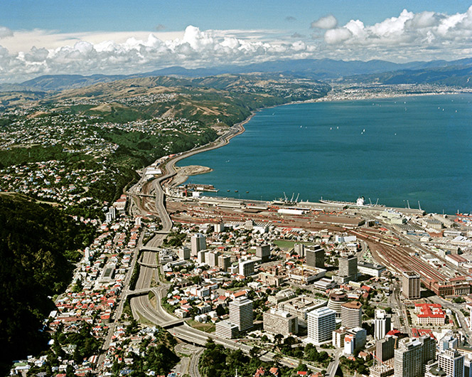 Panorama of Wellington including Wellington harbour from the air.