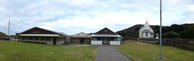 Mātihetihe marae, showing the main buildings, including the church.