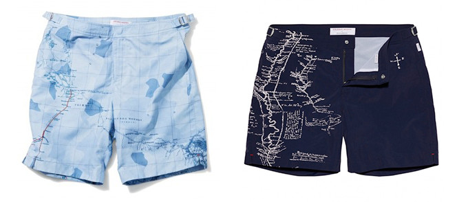 Two pairs of shorts with maps printed on them.