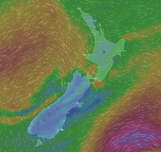 Screenshot showing a current wind map of New Zealand. It's much more colourful.