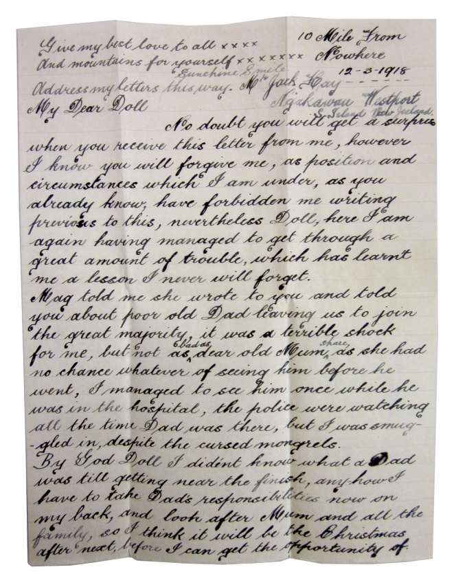 Censorship of correspondence, Frank Lonnigan to D Nugent, April 1918 - May 1919.