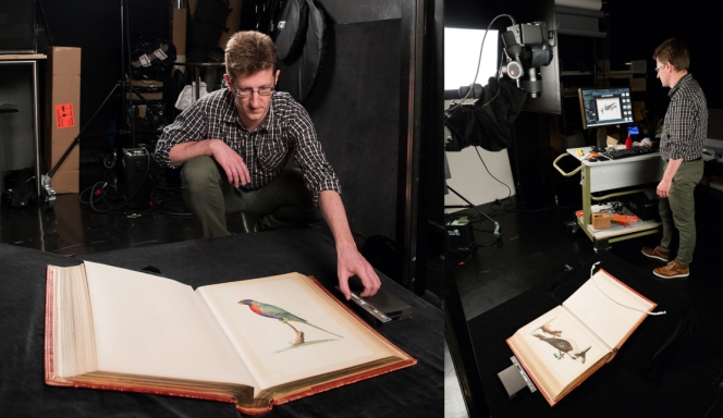 Shows Imaging Technician Llewelyn Jones photographing the album in the Library's studio.