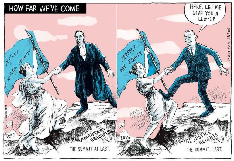 Cartoon in two panels, the first recreating a famous cartoon celebrating suffrage equality, the second modifying it to indicate women are not being supported in achieving pay equality.