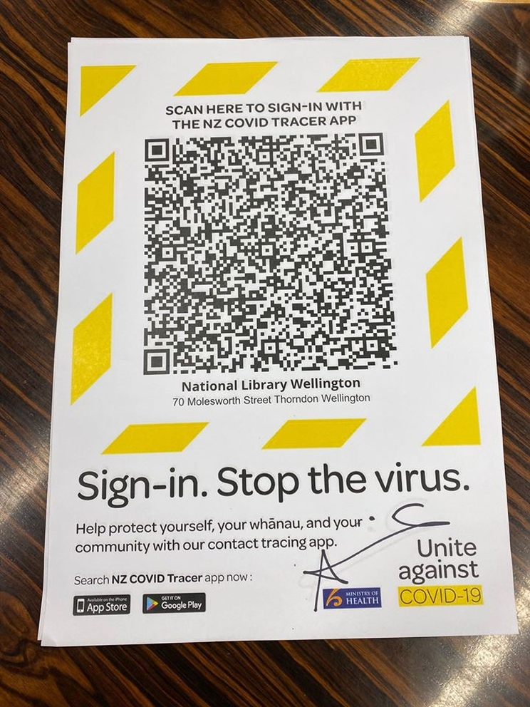 The Ministry of Health QR code for visitors to the National Library, with yellow border for improved visibility.