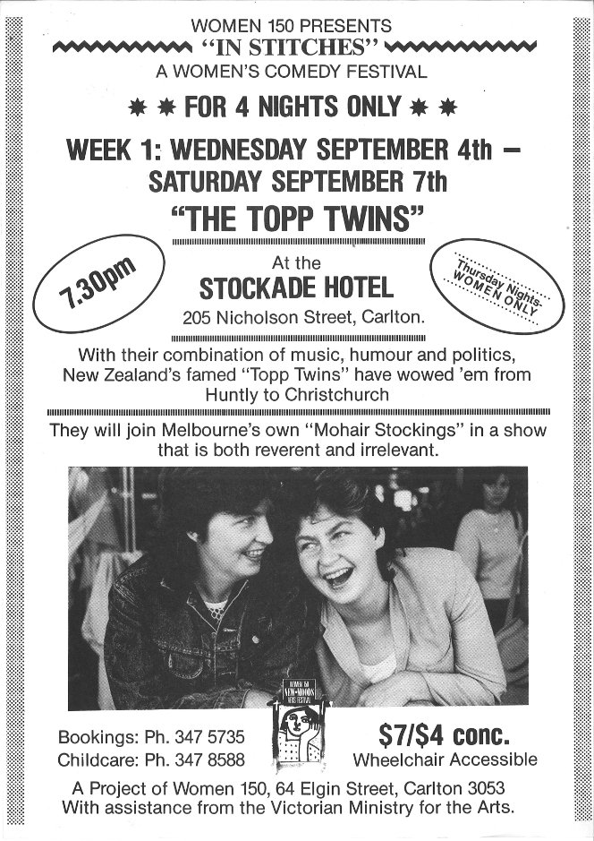 Poster advertising the Topp Twins as part of the In Stitches women's comedy festival.