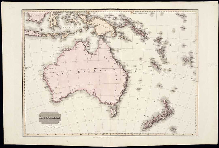 Map with Australia and New Zealand tinted pink,