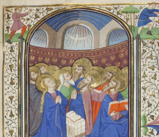 An example of an illuminated manuscript showing robbed men looking aloft to heaven.